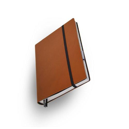 Whitebook Standard S024-SL, modulares Notizbuch, Rindleder geschnitten, rehbraun, 240 S. Papier FSC (iPad Air & Samsung Galaxy 10.1 2014 integrierbar, Inhaltshefte nachfüllbar)