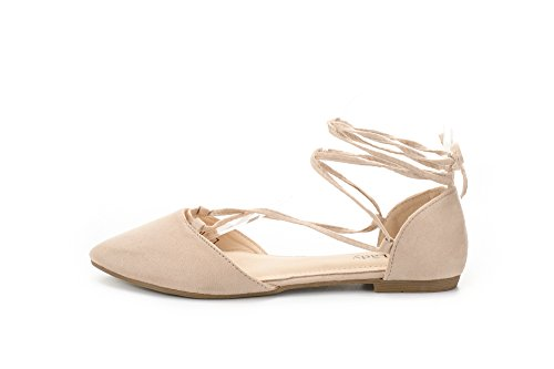 Pointed Mila Flats Strap Shoes Womens Suede Lady Faux up 1 Nude Ankle Toe Lace aqq6Iw