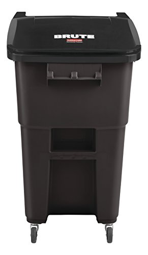 Rubbermaid Commercial Products BRUTE Rollout Trash/Garbage Can with Caster Wheels, 50-gallon, Brown (2018384) ()