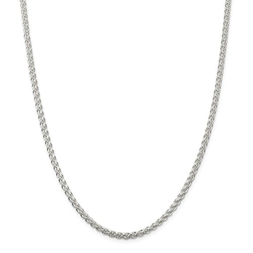 Lex & Lu Sterling Silver 3mm Round Spiga Chain Necklace-Prime ()
