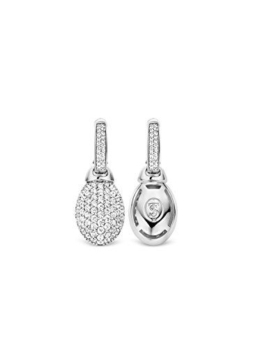 Ti Sento Milano femme  Argent 925/1000  Plaqué rhodium Argent|#Silver Ovale   Blanc Zirkonia FASHIONEARRING