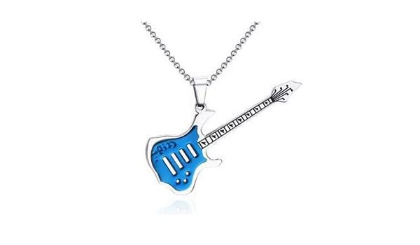 Coniea Collar Acero Guitarra Colgantes Hombre Rock Guitarra Azul ...