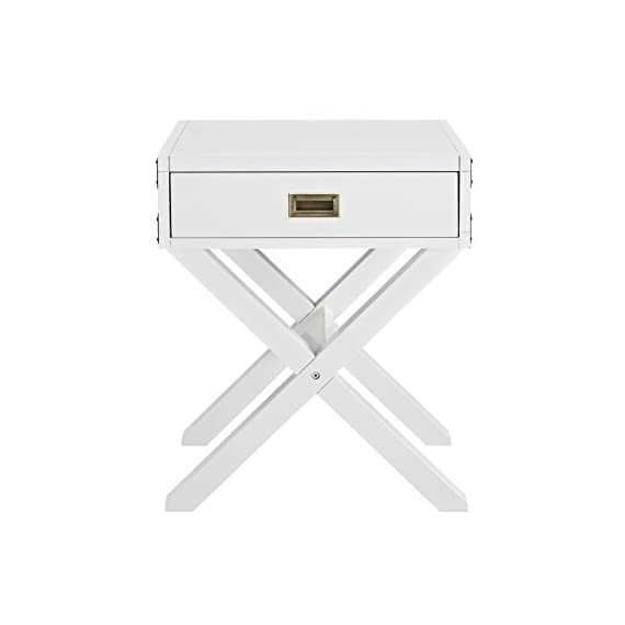 Dorel Living Miles Nightstand, White - Campaign style nightstand Sturdy wood construction in a non-toxic classic white finish Features modern aesthetics such as an X-base leg design and aged brass decor metal plates on each side of the Miles Nightstand - nightstands, bedroom-furniture, bedroom - 31imFHrdnwL. SS570  -