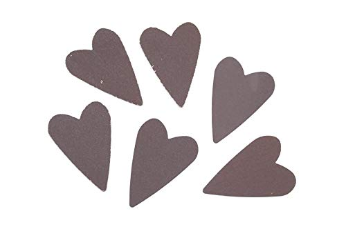 Darice 6551-41 Rustic Look Tin Folk 1.5 inches, 6 Pack Hearts Brown