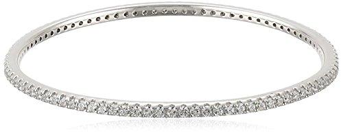 Platinum-Plated Sterling Silver Swarovski Zirconia Bangle Bracelet, 7.25
