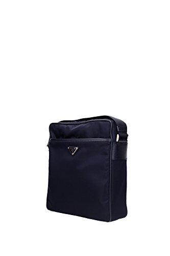 Bolso con Bandolera Prada Hombre Nylon Blue y Negro 2VH002BLEU Blu 8x24x27 cm