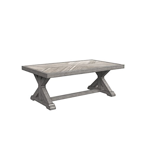 Ashley Furniture Signature Design - Beachcroft Outdoor Rectangular Cocktail Table - Coffee Table - Porcelain Top - Beige