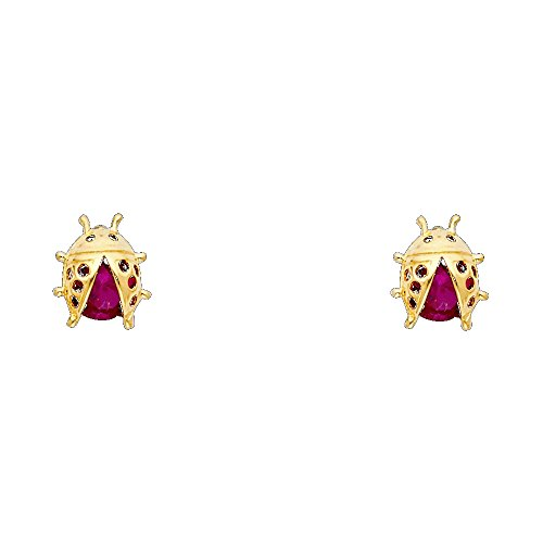 Wellingsale 14K Yellow Gold Polished Ladybug Stud Earrings With Screw Back 14k Yellow Gold Ladybug Earring