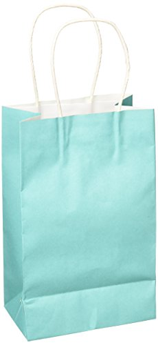 Amscan Solid Kraft Bag Small , 12 Ct.,  Robin's-egg Blue ()