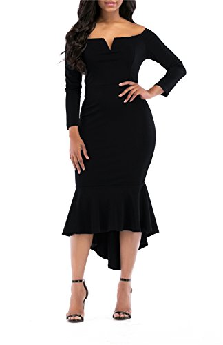onlypuff Black Off Shoulder Dress Mermaid Sexy Bodycon Midi Dresses Long Sleeve V-Neck M