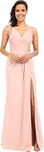 le Satin V-Neck Gown with Draped Skirt Dusty Pink Dress (Draped Satin Dress)