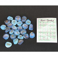 Opalite Gemstone Runes with Engraved Lettering and Velvet Bag
