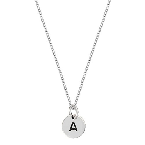 Silverly Womens .925 Sterling Silver Round Disc Initial Alphabet Charm Pendant Necklace, 46 cm