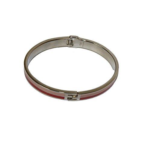 Fendi FF Logo 'The Fendista' bangle Pink, Silver Enamel Metal Bangle Bracelet