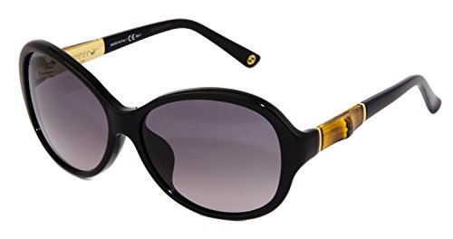GUCCI Oval GG3684FS Black Gold BAMBOO Sunglasses Asian Fit 3684 4UAEU