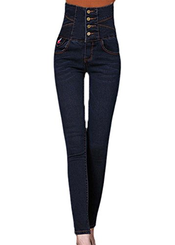 Jeggings Womens Womens Gris Bleu haute 4 Slim Taille Keephen Stretch Skinny Leggings Denim qCBnwqz4xR