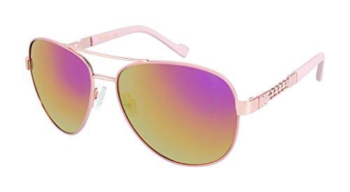 Jessica Simpson Women's J5359 Metal Aviator Sunglasses with Mirrored Lens, Chain Temple & 100% UV Protection, 63 mm