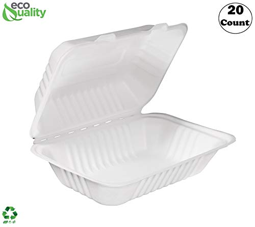 [20 PACK] EcoQuality White 6 x 9 x 3 in. Compostable Clam Shell Hinged Take Out Food Container - Sugarcane Bagasse, Tree Free - Restaurant Supplies, Microwavable,Bidodegradable, Recyclable (Rectangle)