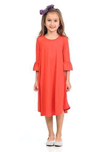 Pastel by Vivienne Honey Vanilla Girls' Bell Sleeve Trapeze Dress with Easy Removable Label Large 9-10 Years Coral