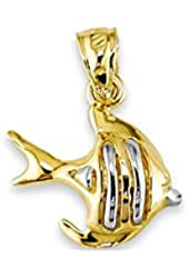 Solid Polished 14k White Yellow Gold Fish Charm Pendant