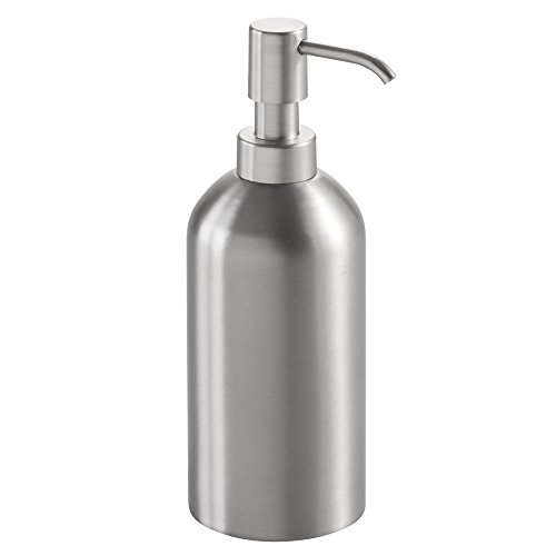 mDesign Soap Dispenser Pump for Kitchen, Bathroom - Stainless Steel, Brushed