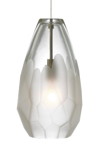 Briolette 1 Light Pendant Shade Color: Frost, Mounting Type: Fusion Jack, Finish: Satin Nickel