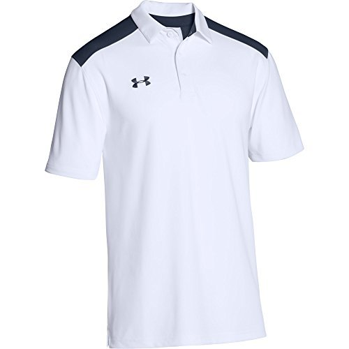 Under Armour Men's Team Armour Colorblock Polo (X-Large, White/Midnight Navy)