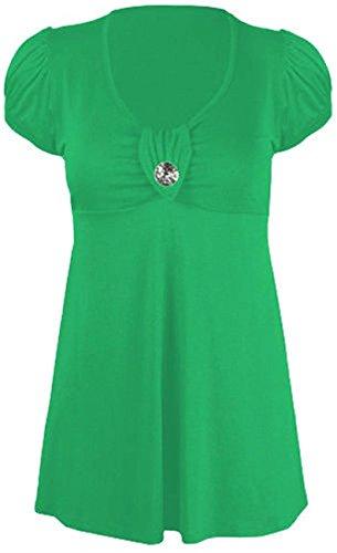 Neue Damen Plus Größe Juwel Knopf Trim Short Sleeve Scoop Neck Kleid 14–28 Gr. 16, Grün - Grün