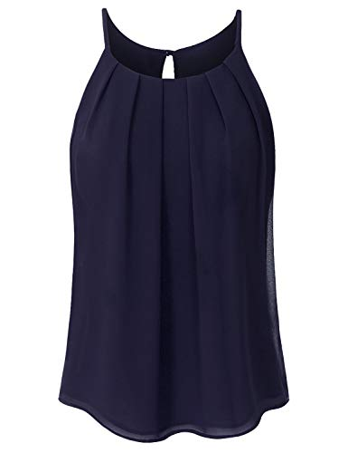 JSCEND Women's Round Neck Pleated Double Layered Chiffon Cami Tank Top A-Navy 1XL