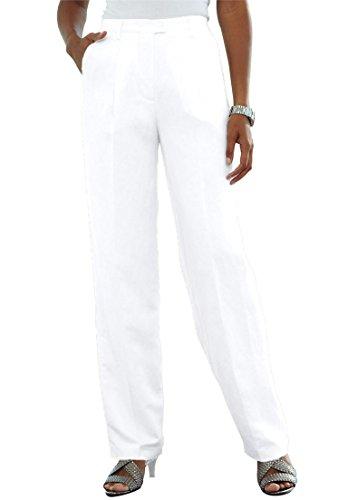 White Linen Blend Pant (Jessica London Women's Plus Size Tall Classic Linen Blend Pants White,12 T)