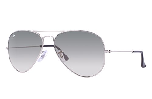 Ray-Ban RB3025 Aviator Sunglasses (58 mm, Silver Metal Frame/Light Gray Gradient Lens)