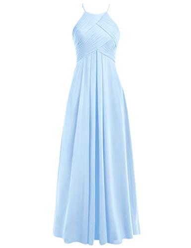 Ballkleider 48W Rückenfrei Linie Lang Hochzeitskleider Abendkleider Chiffon Hellblau A Brautjungfernkleider Neckholder RYvBwxqC