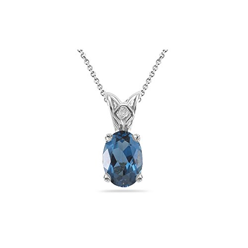 13.57 Cts of 18x13 mm AAA Oval London Blue Topaz Scroll Solitaire Pendant in 14K White Gold