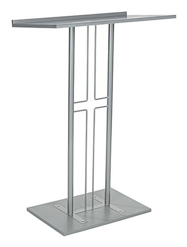 FixtureDisplays Lectern, Pulpit, Podium for Floor, Cross Design, Steel & MDF - Silver (Steel Lectern)