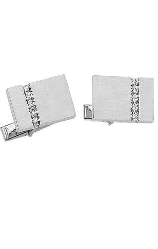 14K White Gold Rectangle Cufflinks With Brushed Finish And Row of Diamonds-86598