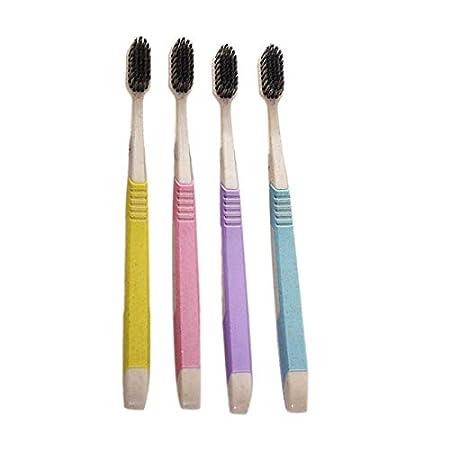 Lovelysunshiny Paja de Trigo Cepillo de Dientes Cepillo de Limpieza Cepillo de cerdas de carbón de bambú: Amazon.es: Hogar