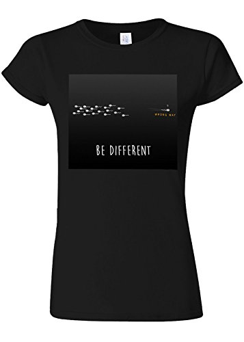 星荷物プログレッシブBe Different Wrong Way Novelty Black Women T Shirt Top-S