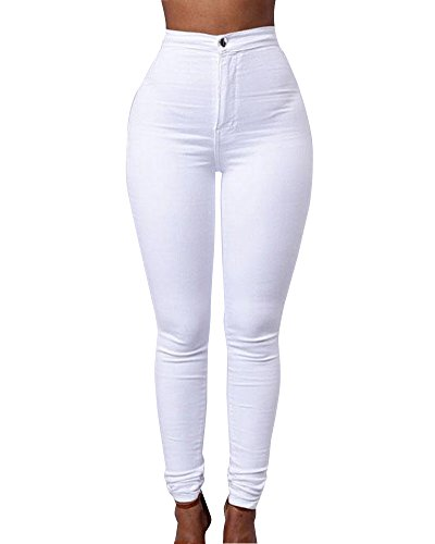 Leggings Denim Collants Stretch Skinny Pantalon Pantalons Haute Jeans Femmes Taille Crayon Blanc zzqxRr8w