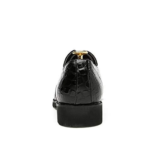 Stringate da Xujw EU Basse casual 2018 Color Oxford Dimensione lavoro Blu Scarpe coccodrillo pelle shoes Scarpe di punta da uomo Nero a stampata in 43 rqntgrz4