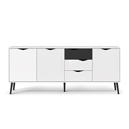 Tvilum 7545449gm Diana Sideboard with 3 Doors and 3 Drawers, White/Black Matte (Sideboard Black And White)