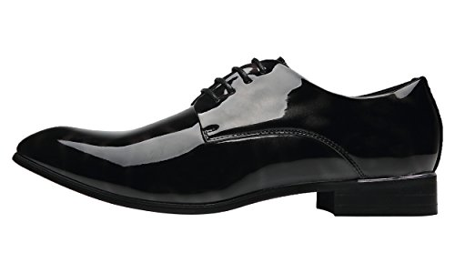 Santimon Herren Derby Schnürhalbschuhe Fashion Lack Leder Streifen Oxford Herrenschuhe Blau Rot Grau Grau