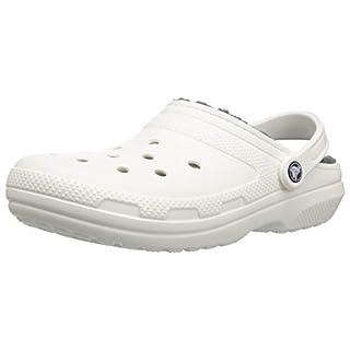 Crocs Classic Lined Clog, white/grey, 11 US Women / 9 US Men