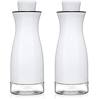 CHEFVANTAGE Olive Oil and Vinegar Cruet Dispenser Set with Elegant Glass Bottle and Drip Free Design - White