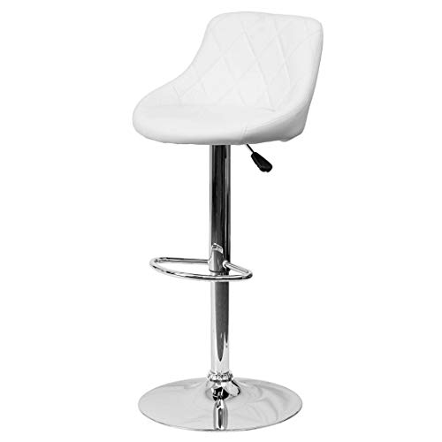 (Modern Style Bar Stools Low Back Horizontal Stitched Design Durable Vinyl Upholstery Height Adjustable 360-Degree Swivel Seats Drafting Dining Chair Bar Pub Home Office Furniture - [1] White #2242)