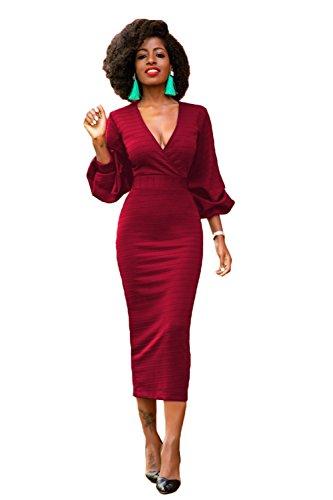 Frestree Women's Vogue Long Lantern Sleeve V Neck High Waist Solid Sexy Slim Skirt Dress With Back Zipper