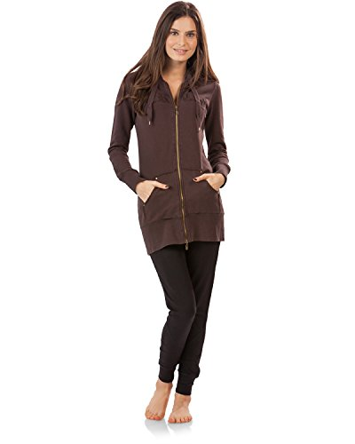 Vertigo Paris Women's Logo Embroidered Hoodie Sweatshirt - Chocolate - (Cotton Stretch Jacket)