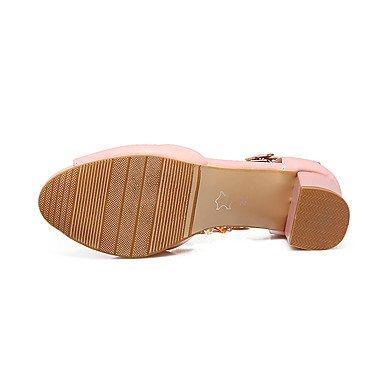 LvYuan Mujer Sandalias Confort Tira en el Tobillo Cuero Verano Vestido Confort Tira en el Tobillo Cuentas Cadena Tacón RobustoBlanco Rosa Azul White