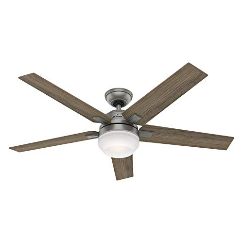 Hunter Fan 54 inch Contemporary Matte Silver Indoor Ceiling Fan with Light Kit and Remote Control (Renewed)