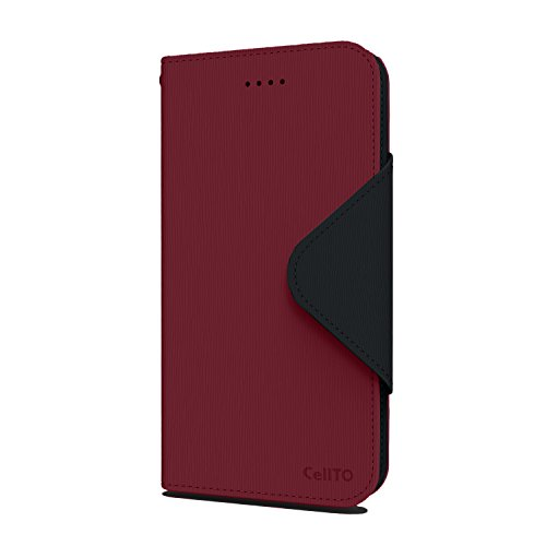 Más la caja de iPhone 6S, Cellto PU cubierta de la carpeta de cuero del soporte magnético de la aleta y reversible [Garantía de por vida] cubierta del tirón para Apple iPhone 6S Plus - Azul marino / M El vino tinto / Negro