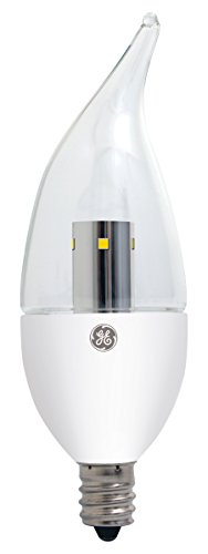 GE Lighting 23691 Energy-Smart  LED 4.5-watt (40-watt replacement), 350-Lumen Bent Tip Bulb with Candelabra Base, Daylight Clear, - 350 Lights Clear Tips